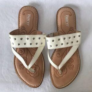 Born Krysten Cream Patent Leather Studded Sandals